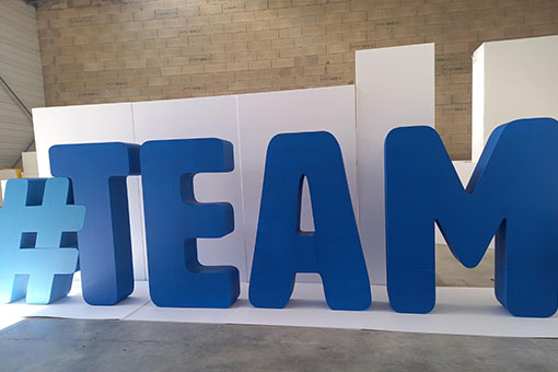 Lettres géantes polystyrène #TEAM
